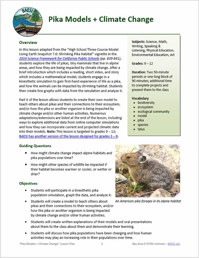 Pikas Models + Climate Change lesson plan
